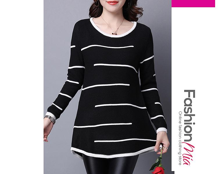 Round Neck  Asymmetric Hem  Striped  Long Sleeve Sweaters Pullover