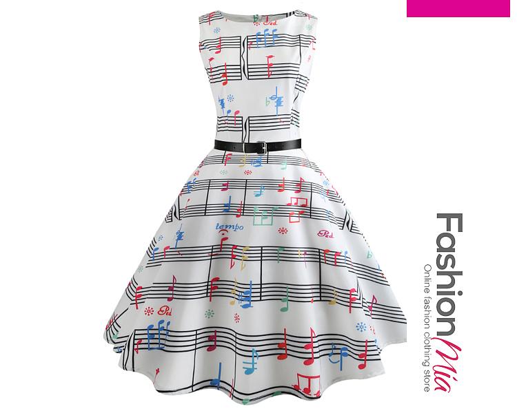 Round Neck  Striped Skater Dresses