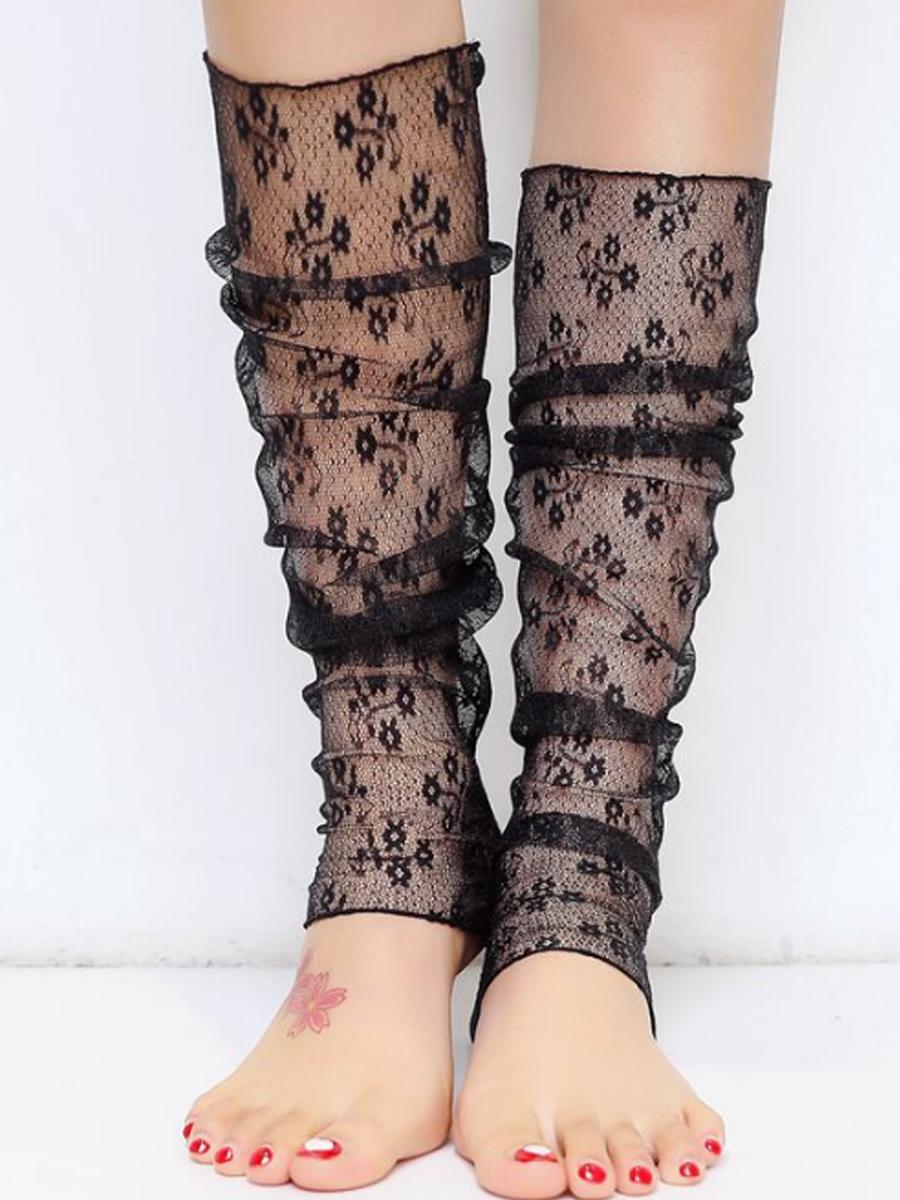 Hollow Out Flower Mesh Sock Lace Leg Warmer