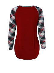 Round Neck Patch Pocket Plaid Raglan Long Sleeve T-Shirt