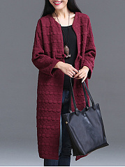 Collarless  Brocade  Long Sleeve Trench Coats