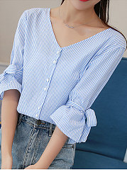 Spring Summer  Cotton  Women  V-Neck  Bowknot Single Breasted  Striped  Three-Quarter Sleeve Blouses