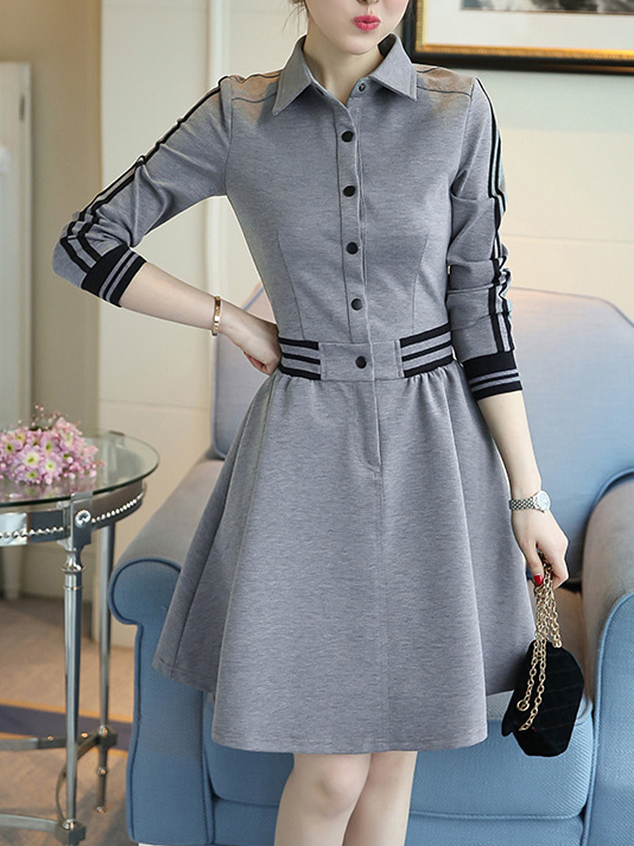 Turn Down Collar  Contrast Trim  Color Block  Polyester Skater Dress