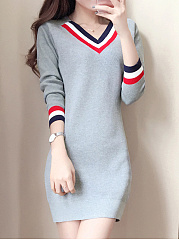 V-Neck Striped Knitted Bodycon Dress