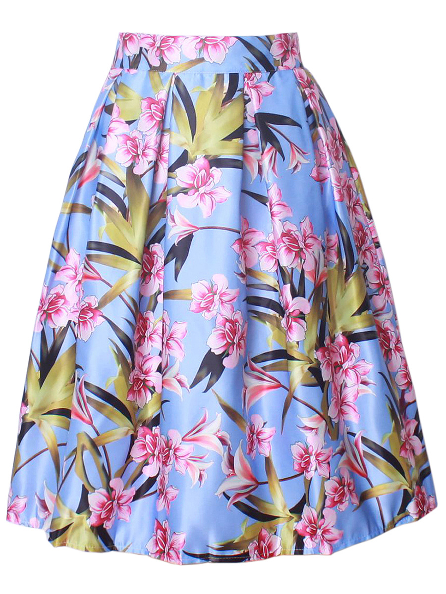 Charming Floral Printed Flared Midi Skirt