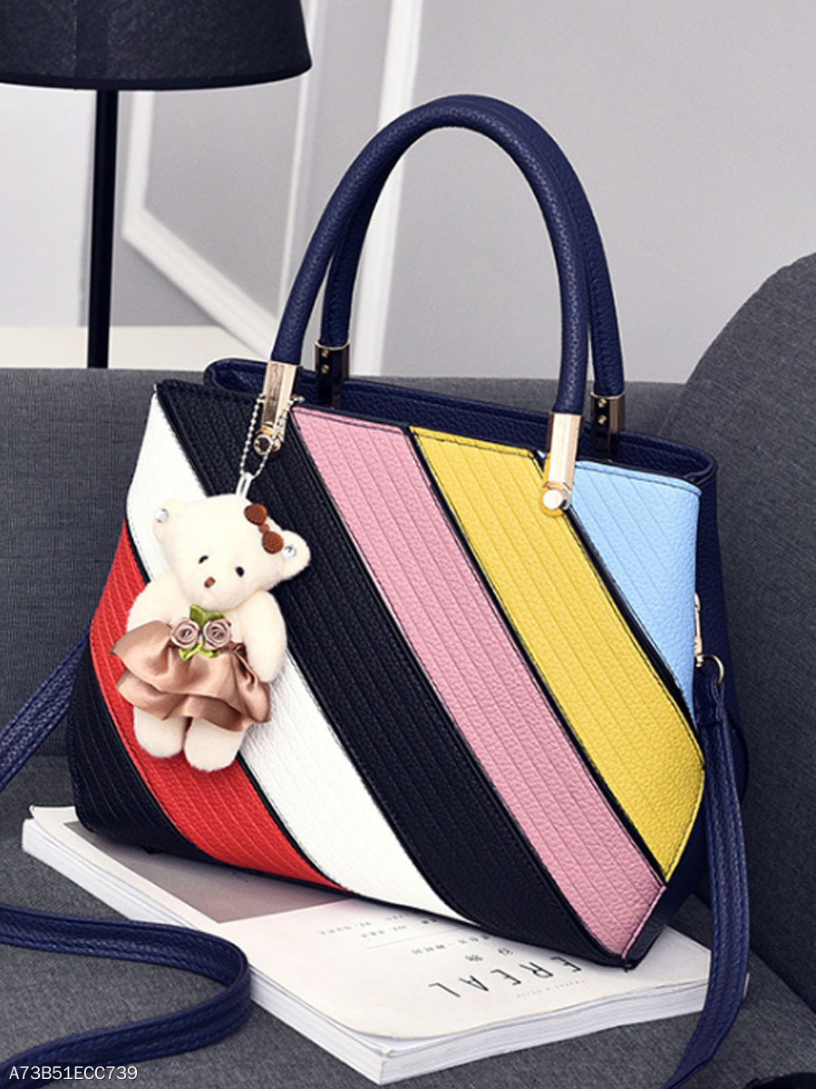 Colorful Striped Pu Shoulder Bag