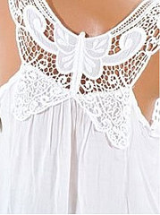 Summer  Cotton  Women  Spaghetti Strap  Decorative Lace  Hollow Out Plain Sleeveless T-Shirts