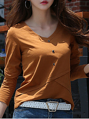 V Neck  Decorative Buttons  Plain Long Sleeve T-Shirts