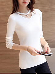 Crew Neck  Cutout  Plain Sweater