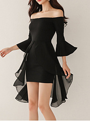 Off Shoulder Plain Bell Sleeve Bodycon Dress
