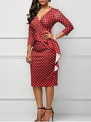 Surplice  Polka Dot  Blend Bodycon Dress