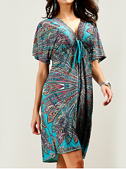 V-Neck  Drawstring  Back Hole  Printed Shift Dress