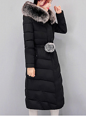 Hooded Plain Drawstring Flap Pocket Longline Padded Coat