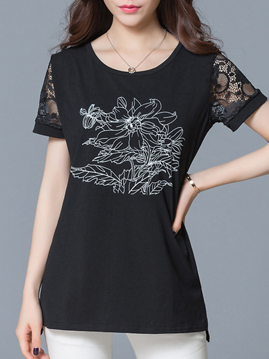 Hollow Out Printed Short Sleeve T-Shirt