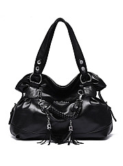 Tassel Big Capacity Pu Shoulder Bag