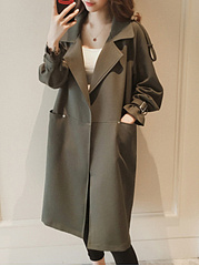 Lapel  Slit Pocket  Decorative Hardware  Plain  Long Sleeve Trench Coats