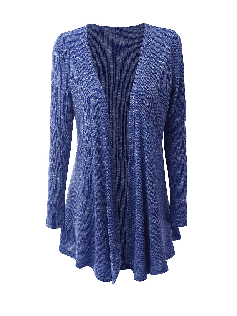 Casual Collarless  Asymmetric Hem Cardigan
