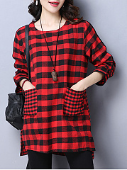 Autumn Spring  Cotton Blend  Round Neck  Patch Pocket  Plaid  Long Sleeve Blouses