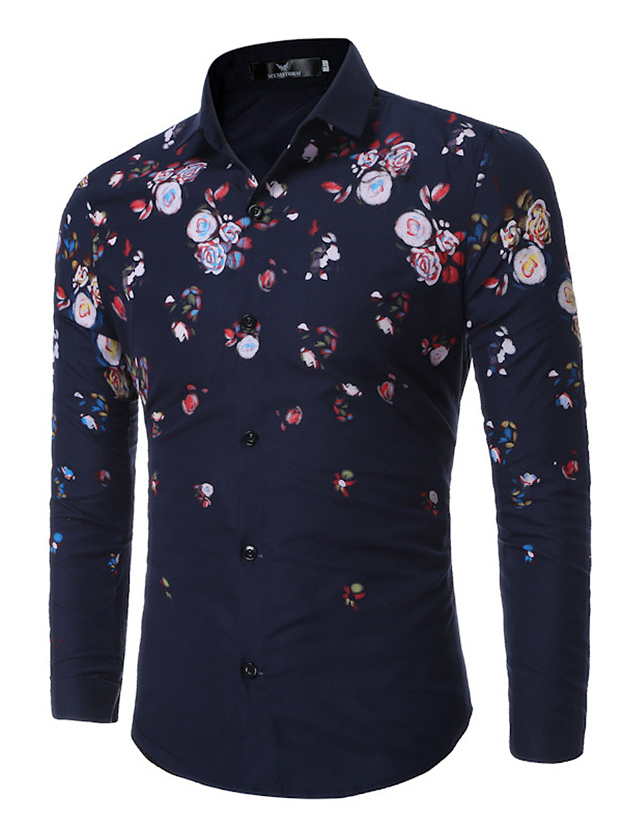 Colorful Printed Long Sleeve Men Shirts