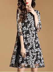 Round Neck Floral Hollow Out Chiffon Shift Dress