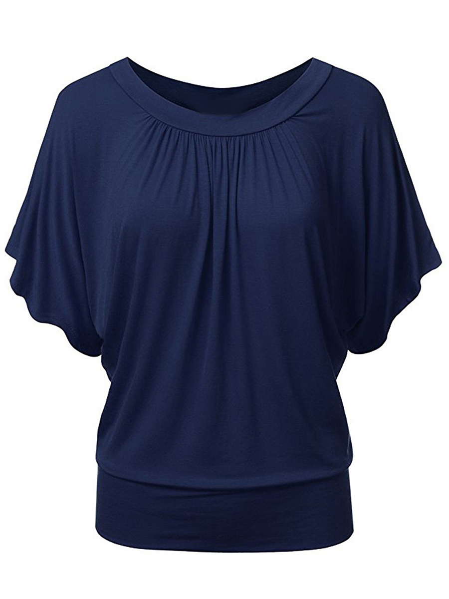 Round Neck Solid Batwing Sleeve T-Shirt