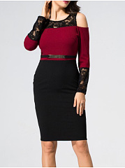 Round Neck  Decorative Lace Zips  Belt  Colouring Hollow Out Bodycon Dress