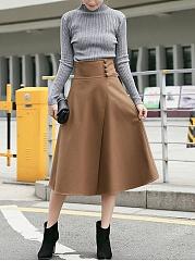 Decorative-Button-Plain-Woolen-Flared-Midi-Skirt