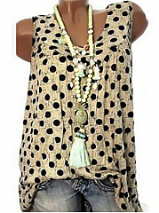 Summer  Cotton  Women  Polka Dot Sleeveless T-Shirts