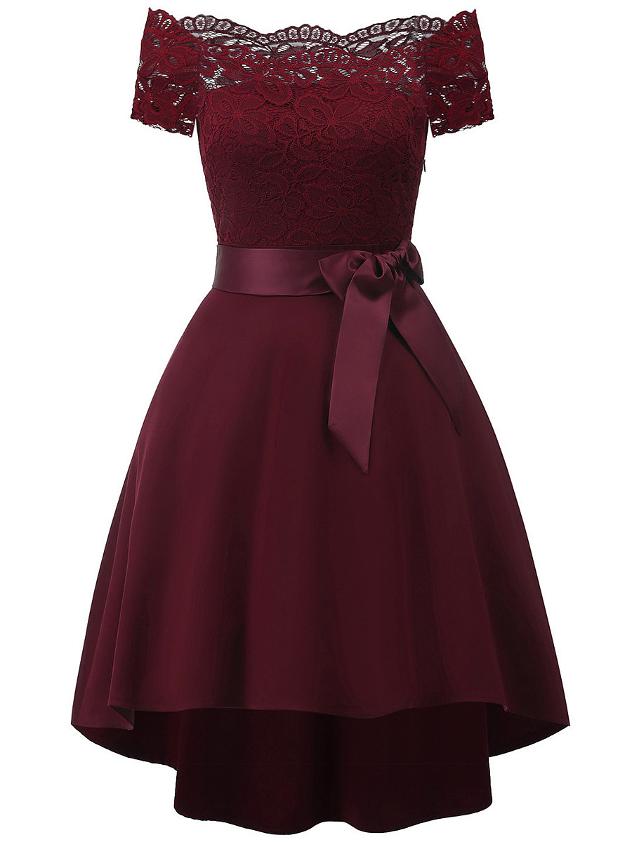 Off Shoulder Bowknot Plain High-Low Skater Dress