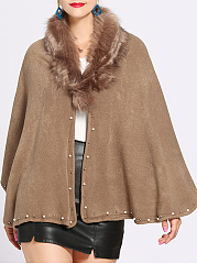 Faux Fur Collar  Beading  Plain Cape