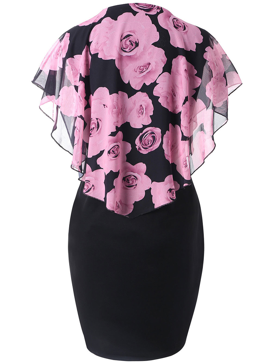 Round Neck  Floral Bodycon Dress