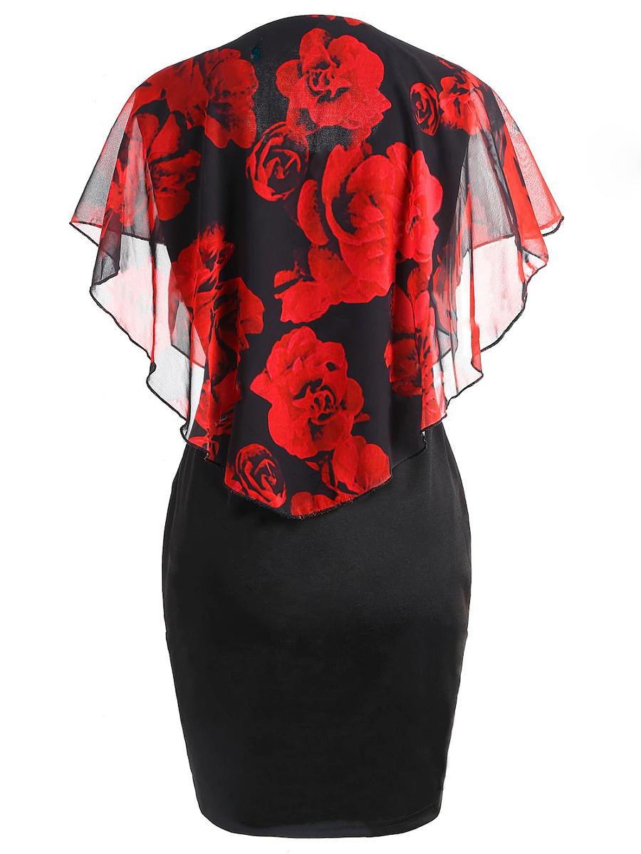 Round Neck  Floral Bodycon Dress