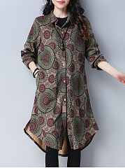 Abstract Print  Long Sleeve Trench Coats