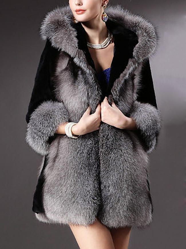 Fashionmia Exquisite Hooded Faux Fur Coat