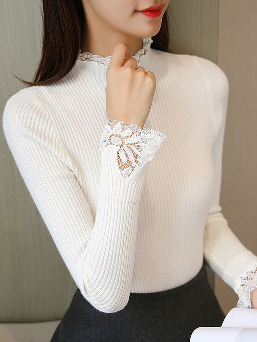 High Neck  Decorative Lace Patchwork  Striped  Petal Sleeve Pullover