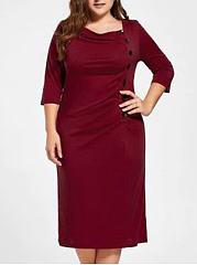 Square Neck  Single Breasted  Plain Plus Size Midi & Maxi Dress