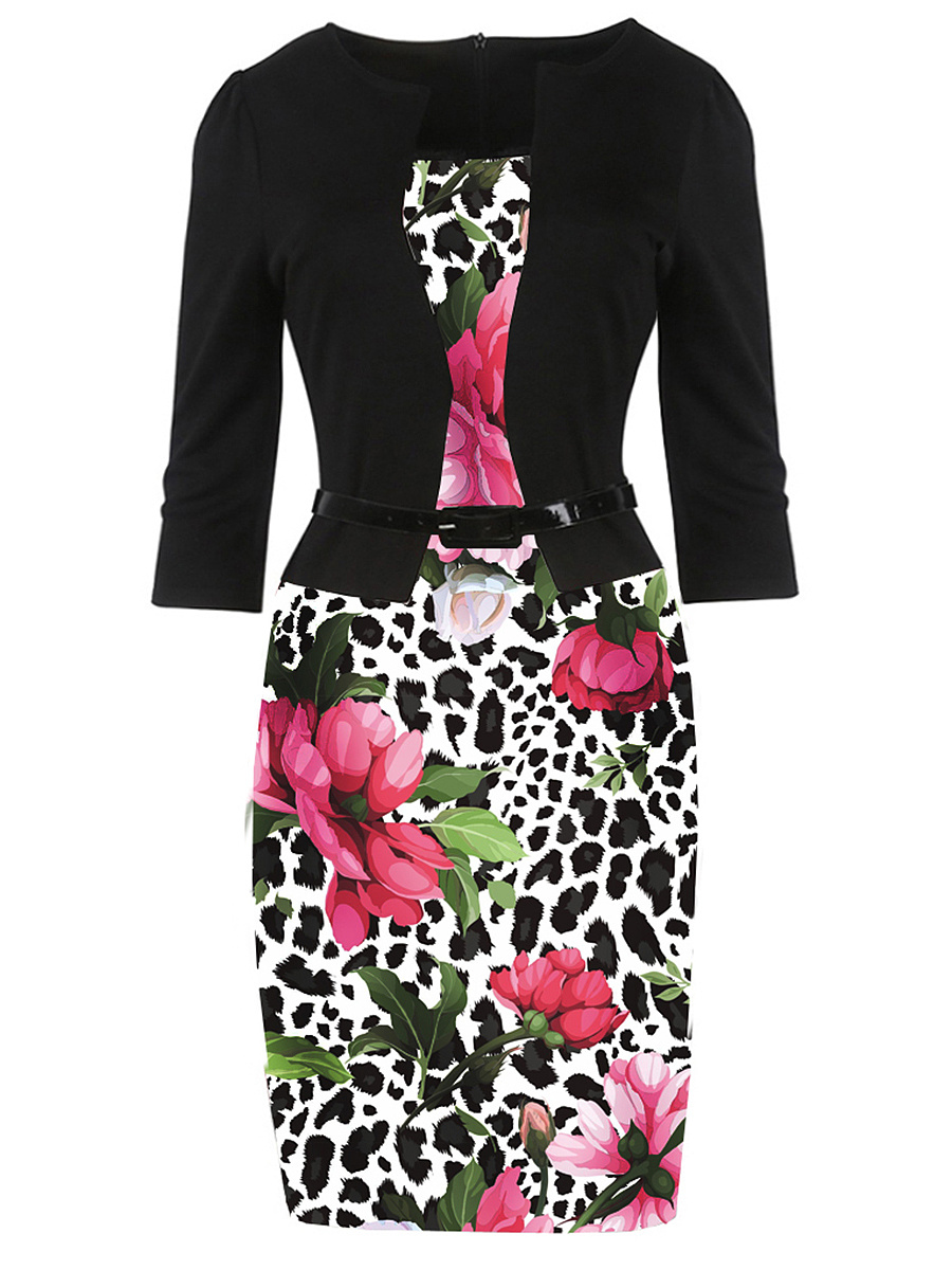 Belt  Floral Printed  Polyester Bodycon Dress