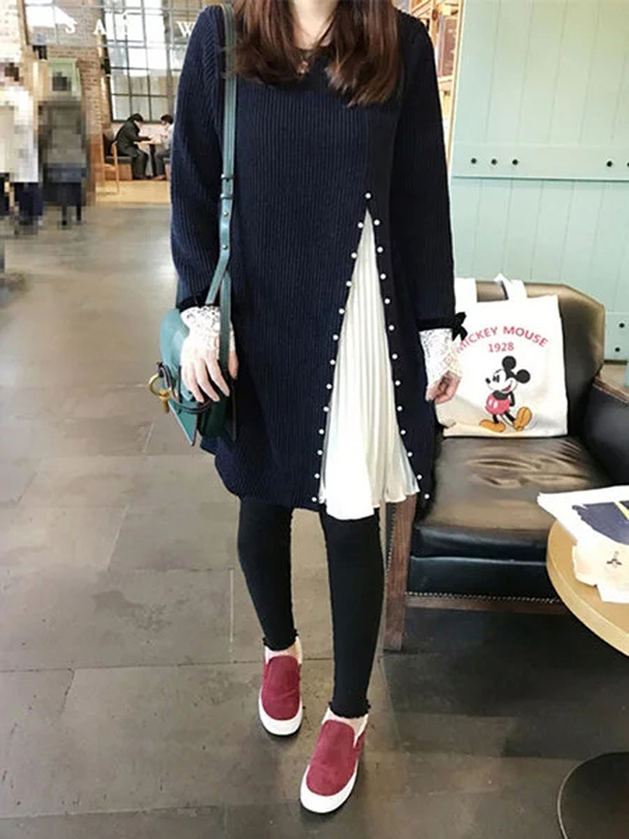 Round Neck  Beading Patchwork  Color Block  Polyester Shift Dress