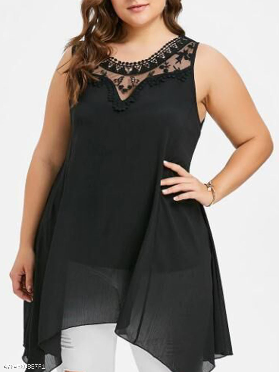 Asymmetric Hem Decorative Lace  Lace Plain  Sleeveless Plus Size T-Shirts