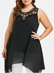 Asymmetric Hem Decorative Lace  Lace Plain  Sleeveless Plus Size BlousesT-Shirts