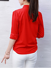 Split Neck  Plain Blouse