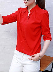 Autumn Spring  Chiffon  Women  Split Neck  Plain  Long Sleeve Blouses
