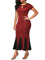 Round Neck  Patchwork Ruffled Hem  Plain Plus Size Midi & Maxi Dresses