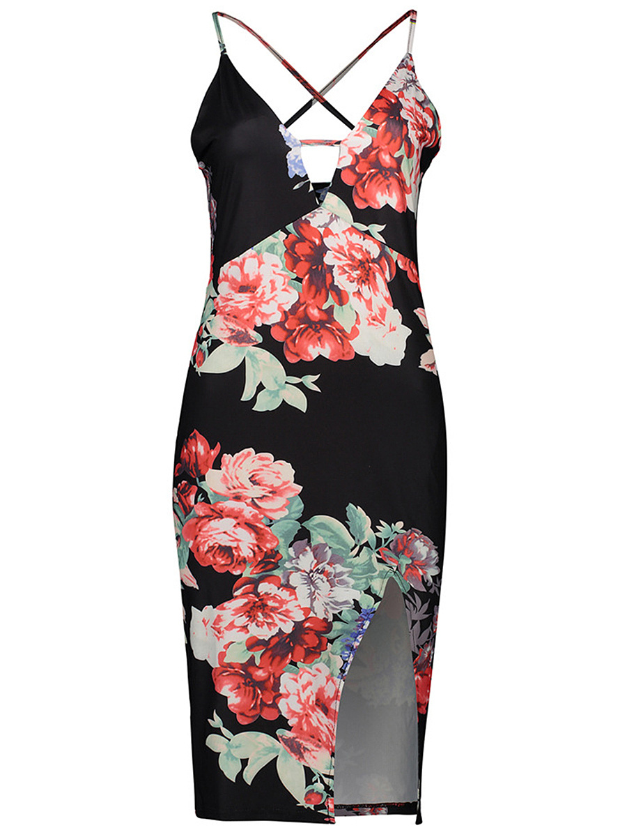 Spaghetti Strap Slit Floral X-Back Bodycon Dress