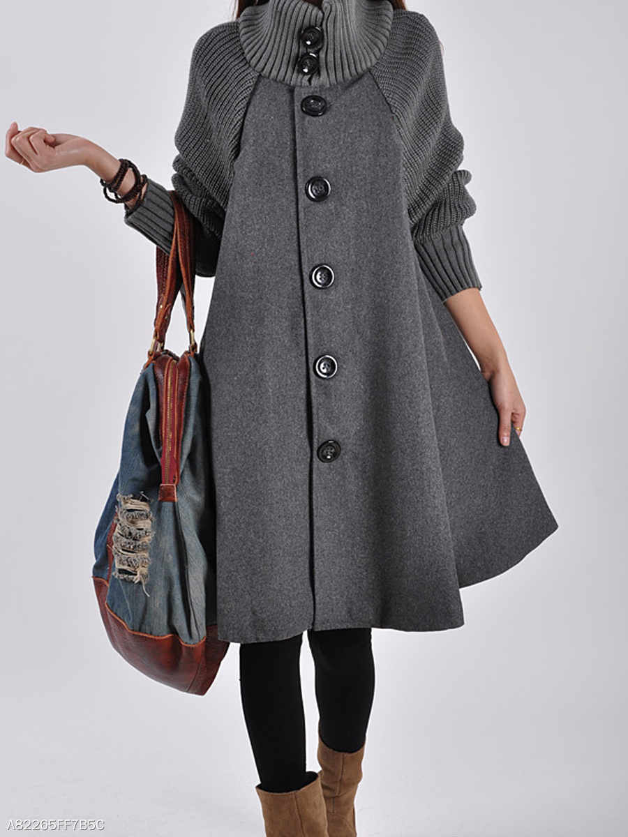 High Neck  Plain  Long Sleeve Coats