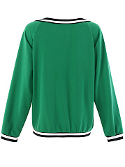 Deep V-Neck  Patchwork  Colouring  Long Sleeve Sweatshirts
