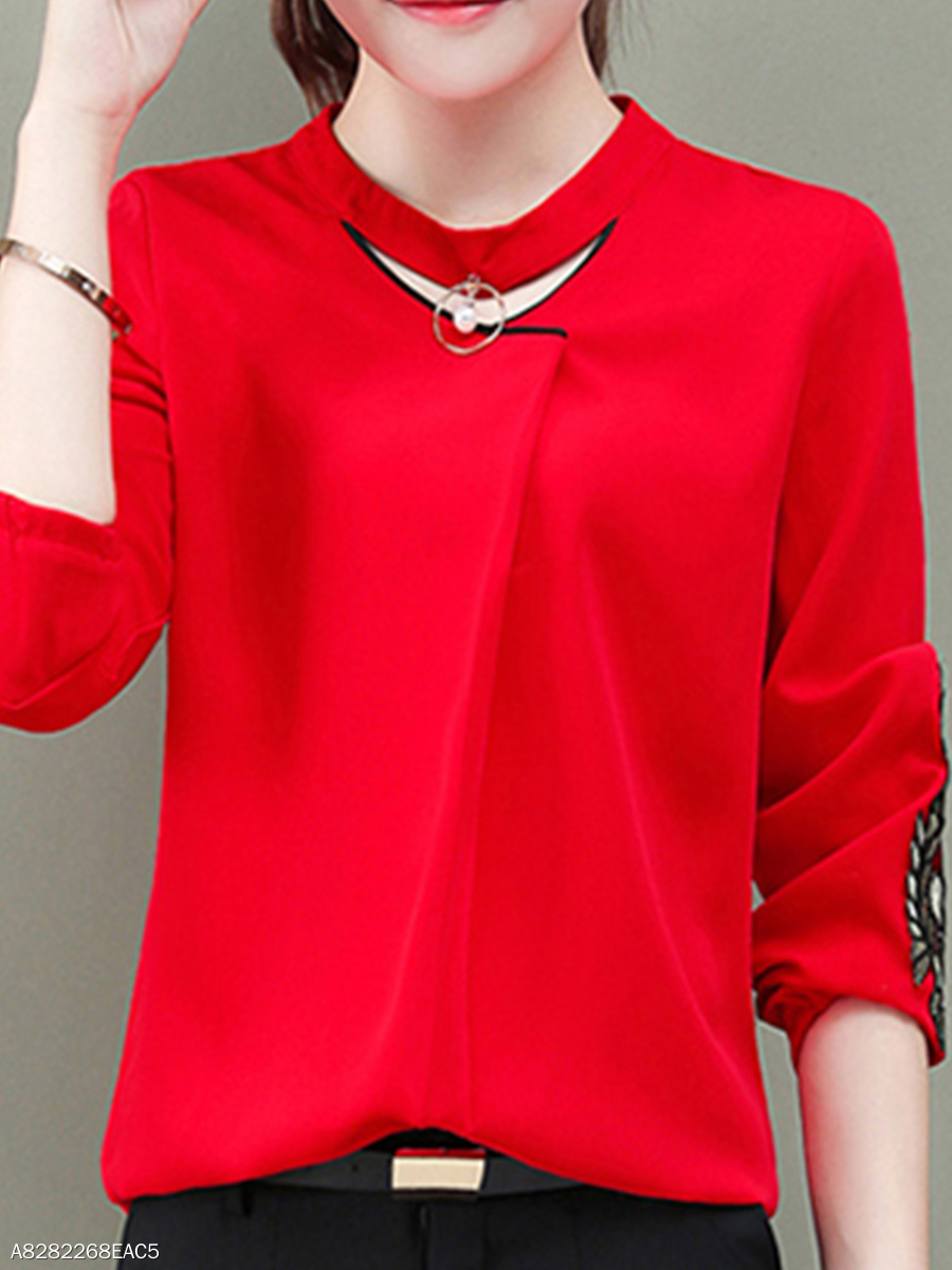 Autumn Spring  Polyester  Women  Embroidery  Long Sleeve Blouses