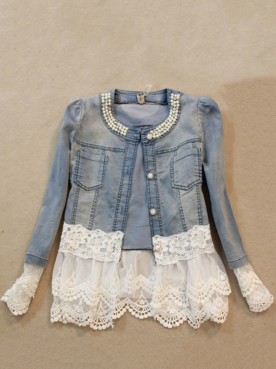 Denim Patchwork Beading Blazer