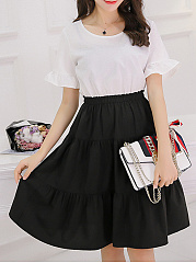 Round Neck  Flounce Patchwork Ruffled Hem  Color Block Skater Dress