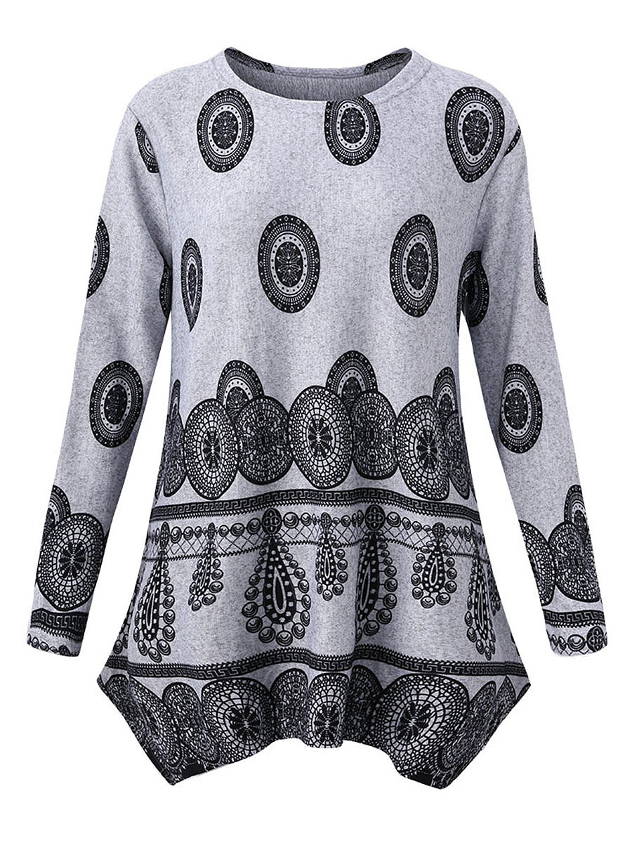Asymmetric Hem Printed Long Sleeve T-Shirt